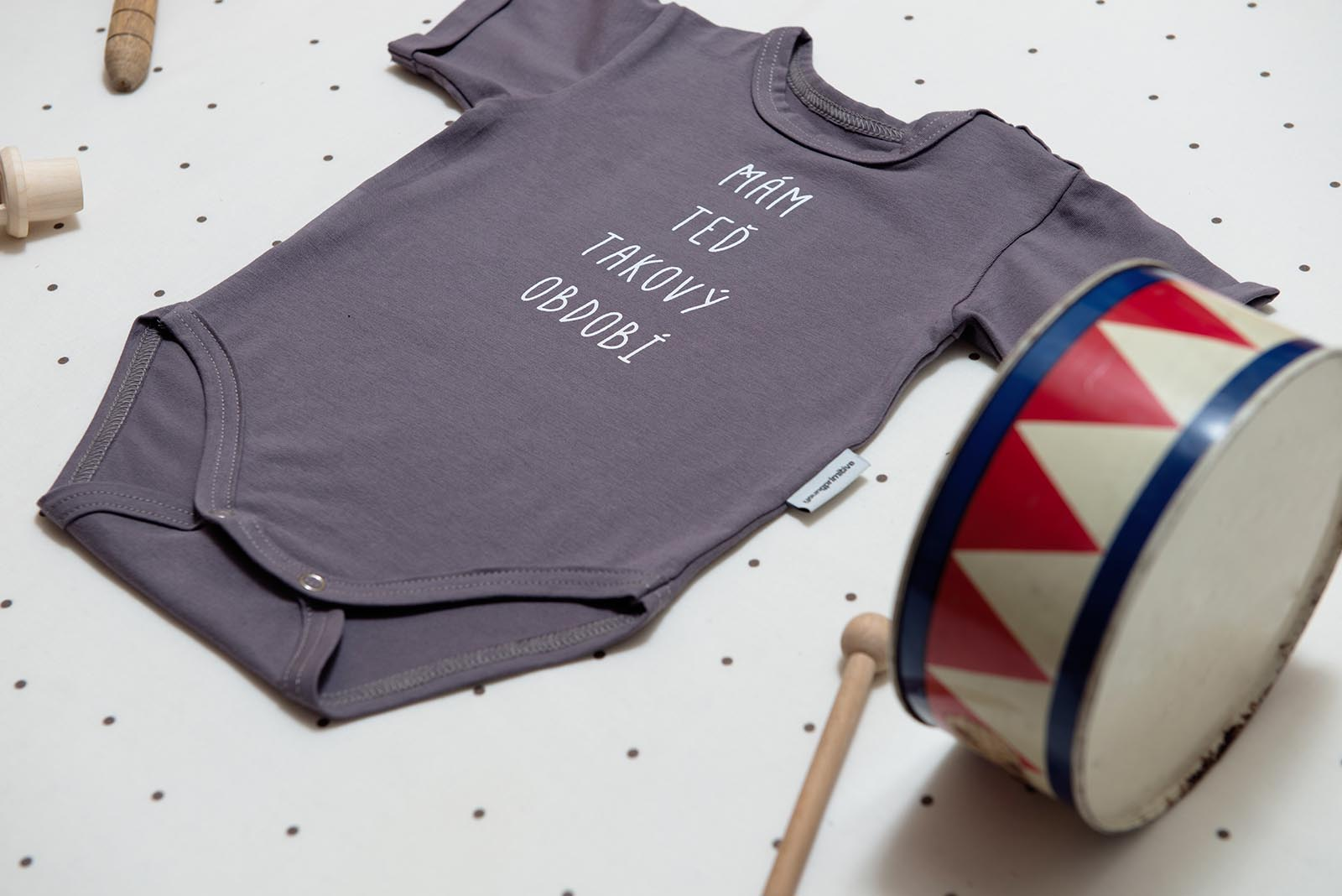 dětské oblečení Období body šedá