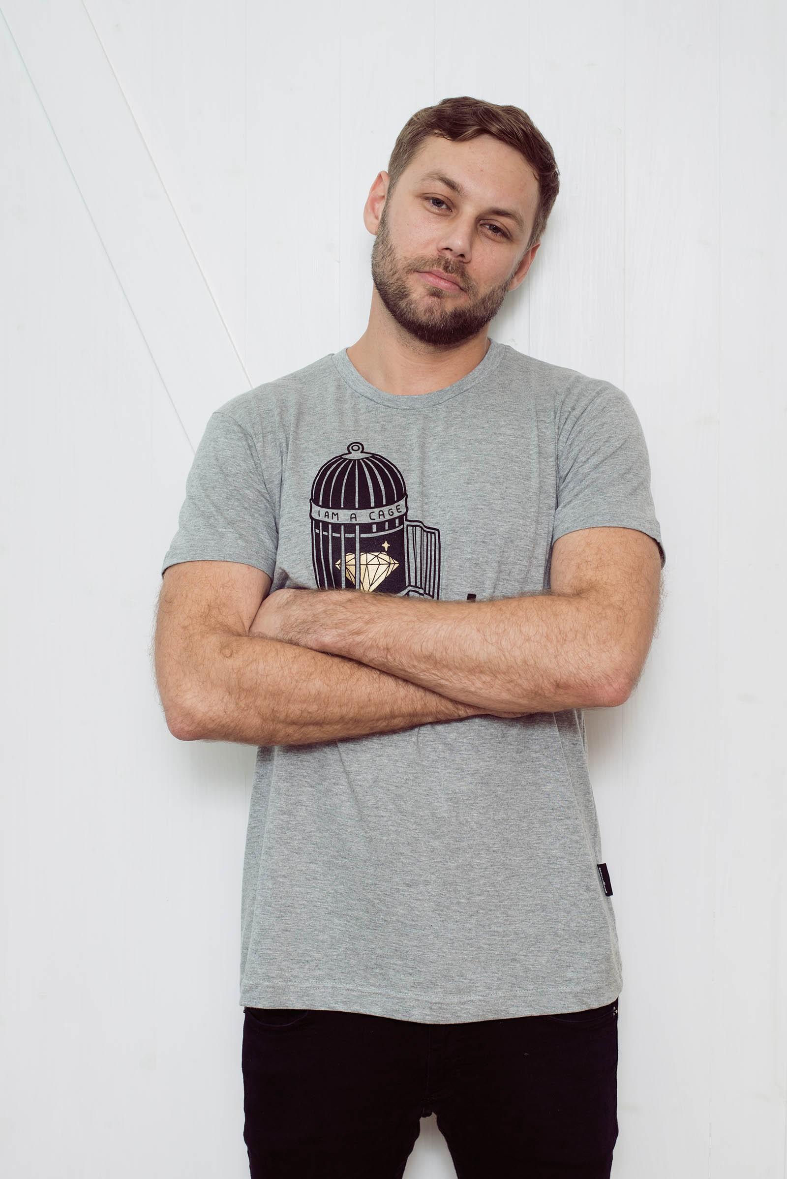 Pánské tričko Cage šedý melír