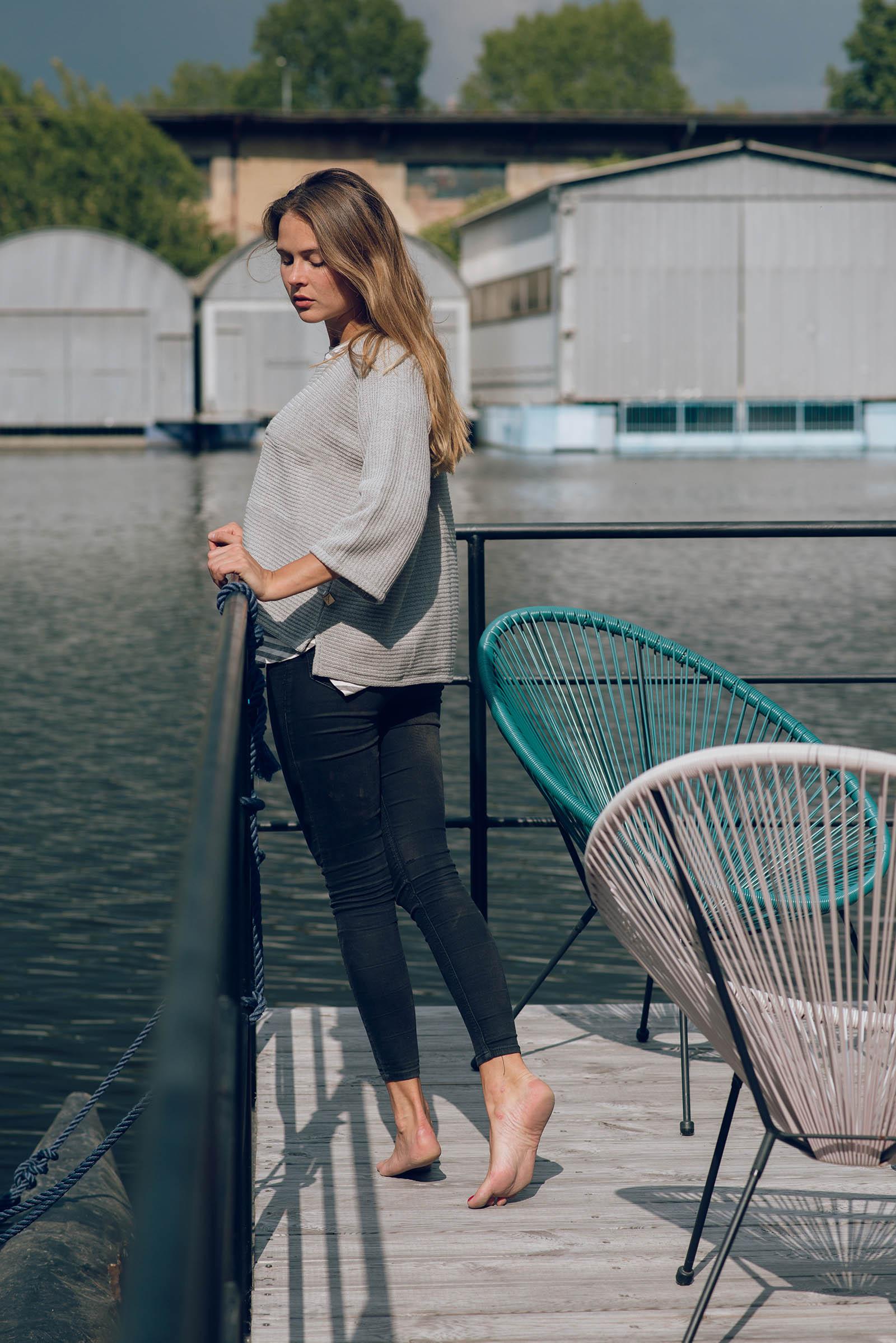 women sweatshirt and sweaters Drop grey