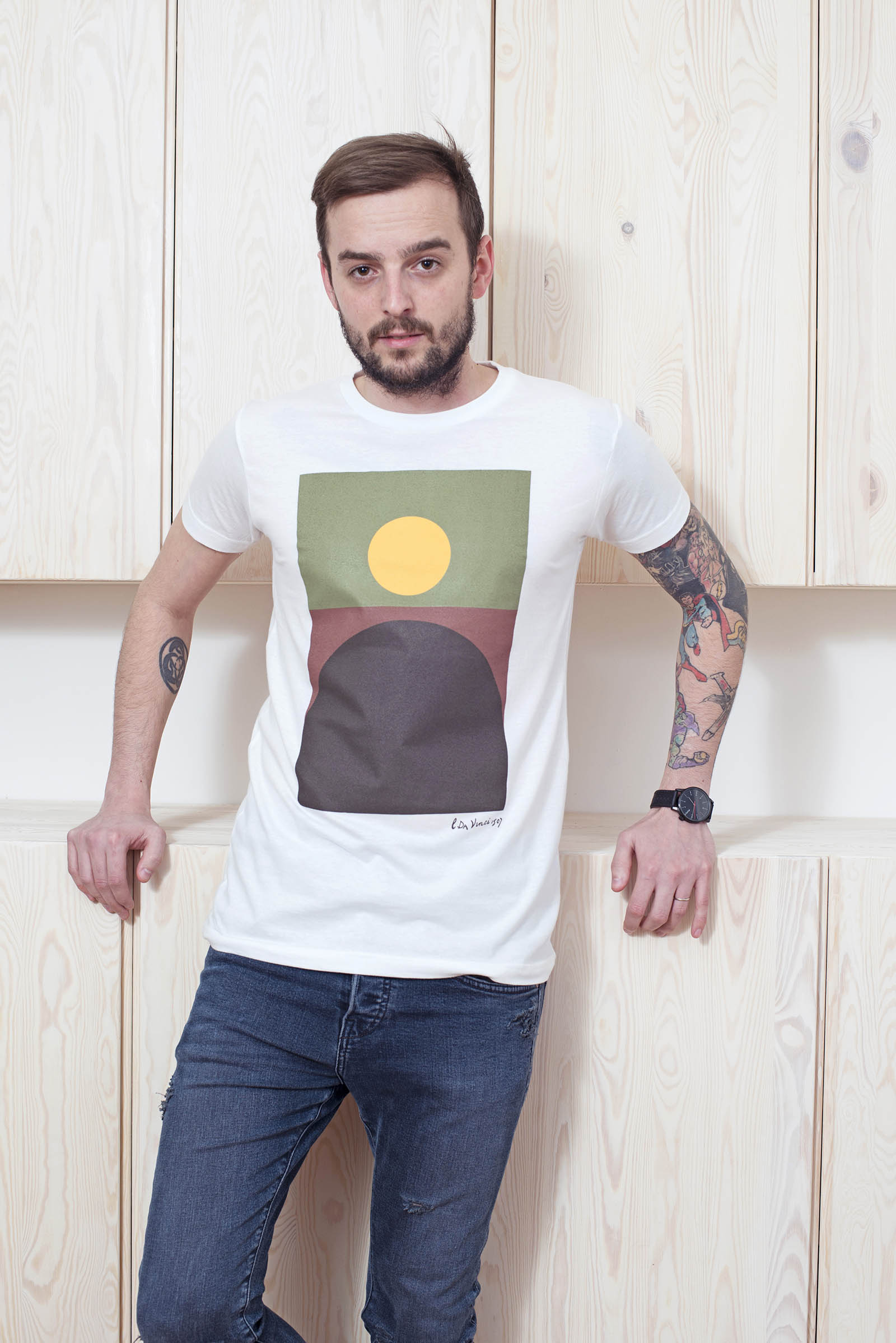 t-shirt for men Mona Lisa white