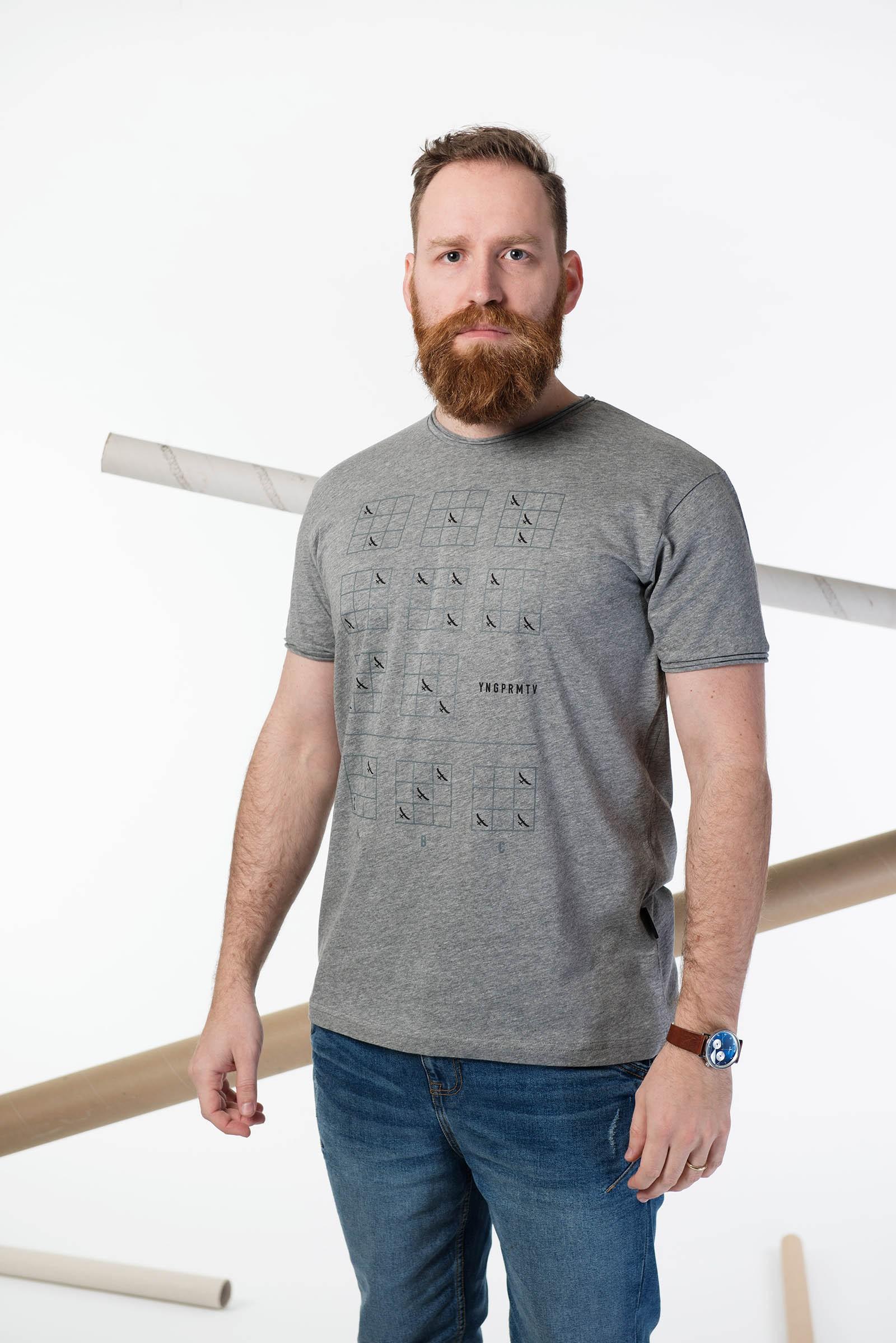 t-shirt for men Binar grey melange