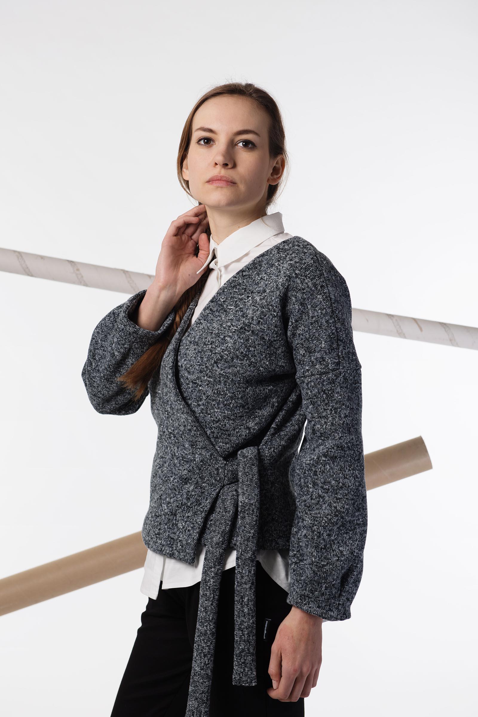 women sweatshirt and sweaters Hanako black/white melange