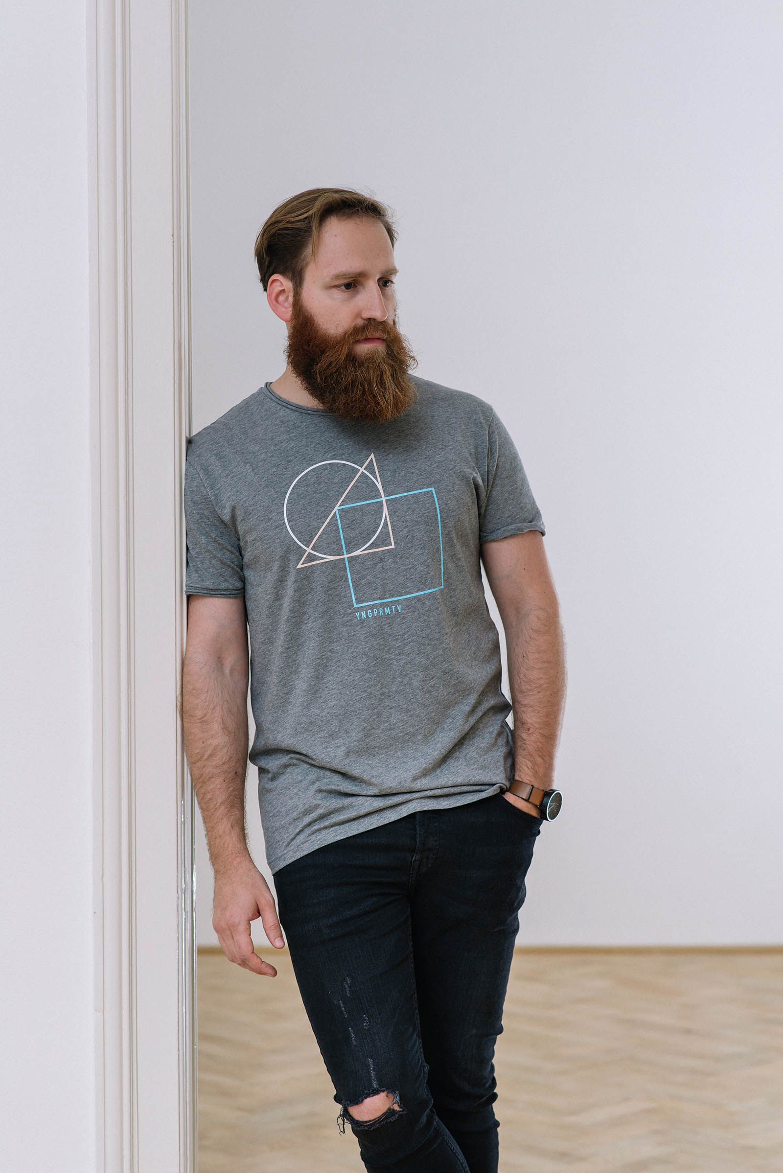 t-shirt for men Geometry grey melange