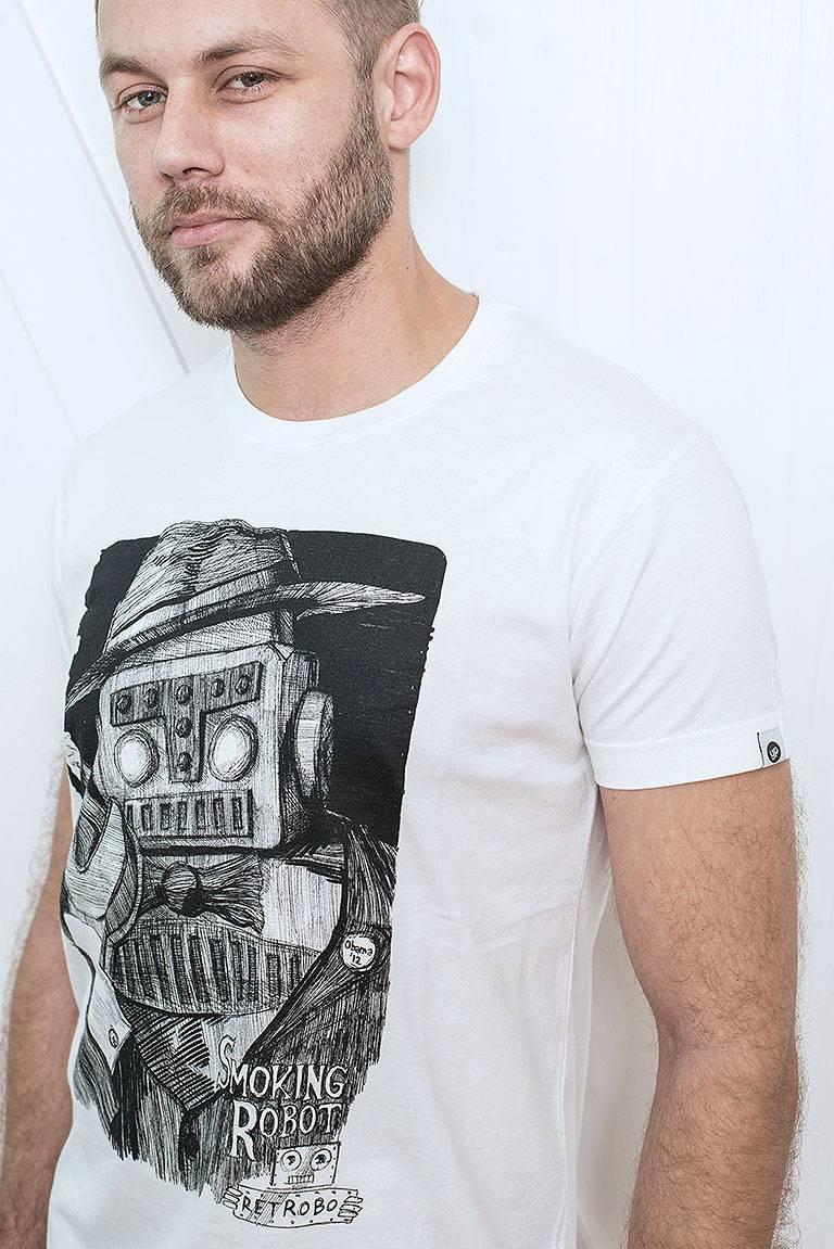 t-shirt for men Smoking robot white