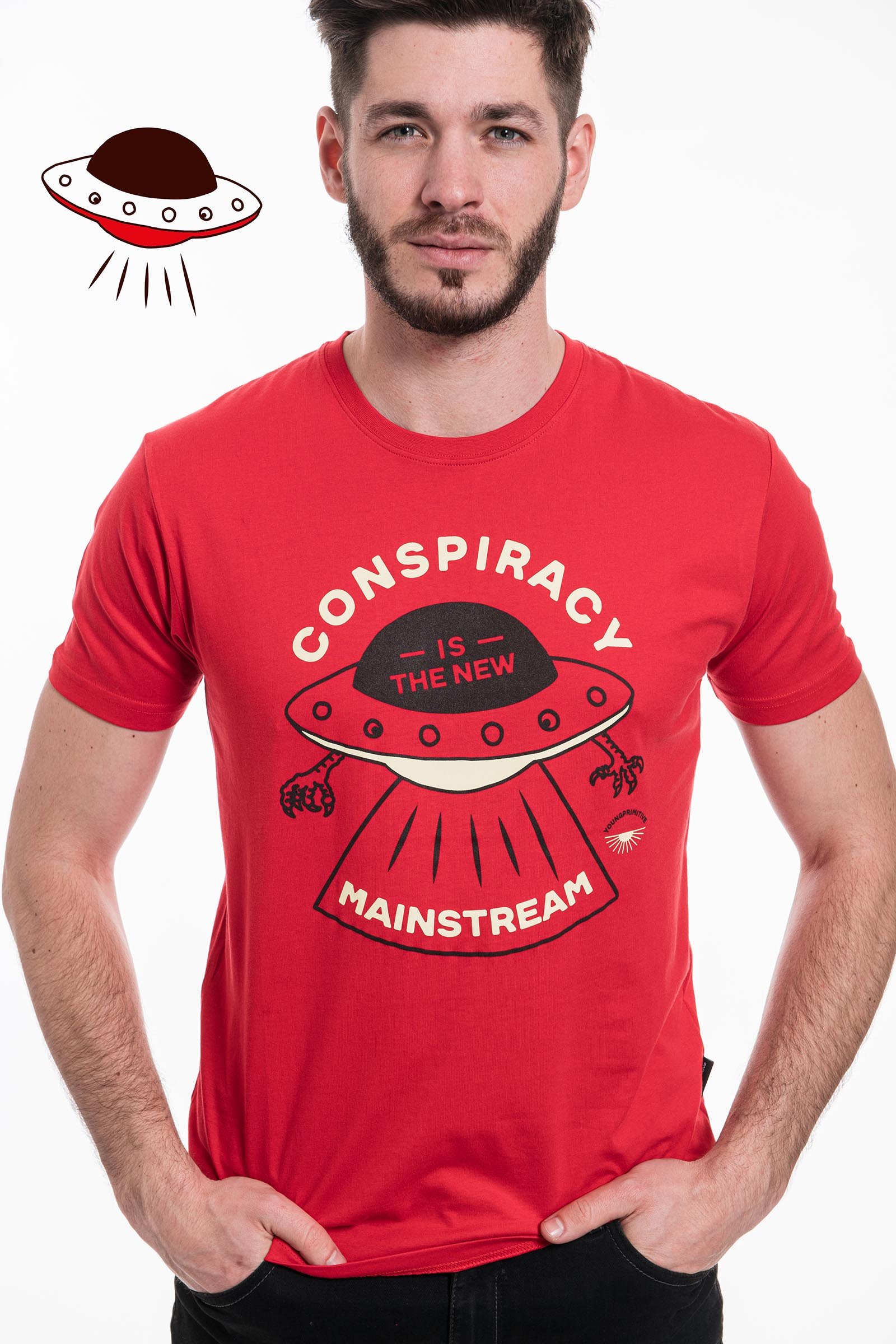 t-shirt for men Conspiracy red