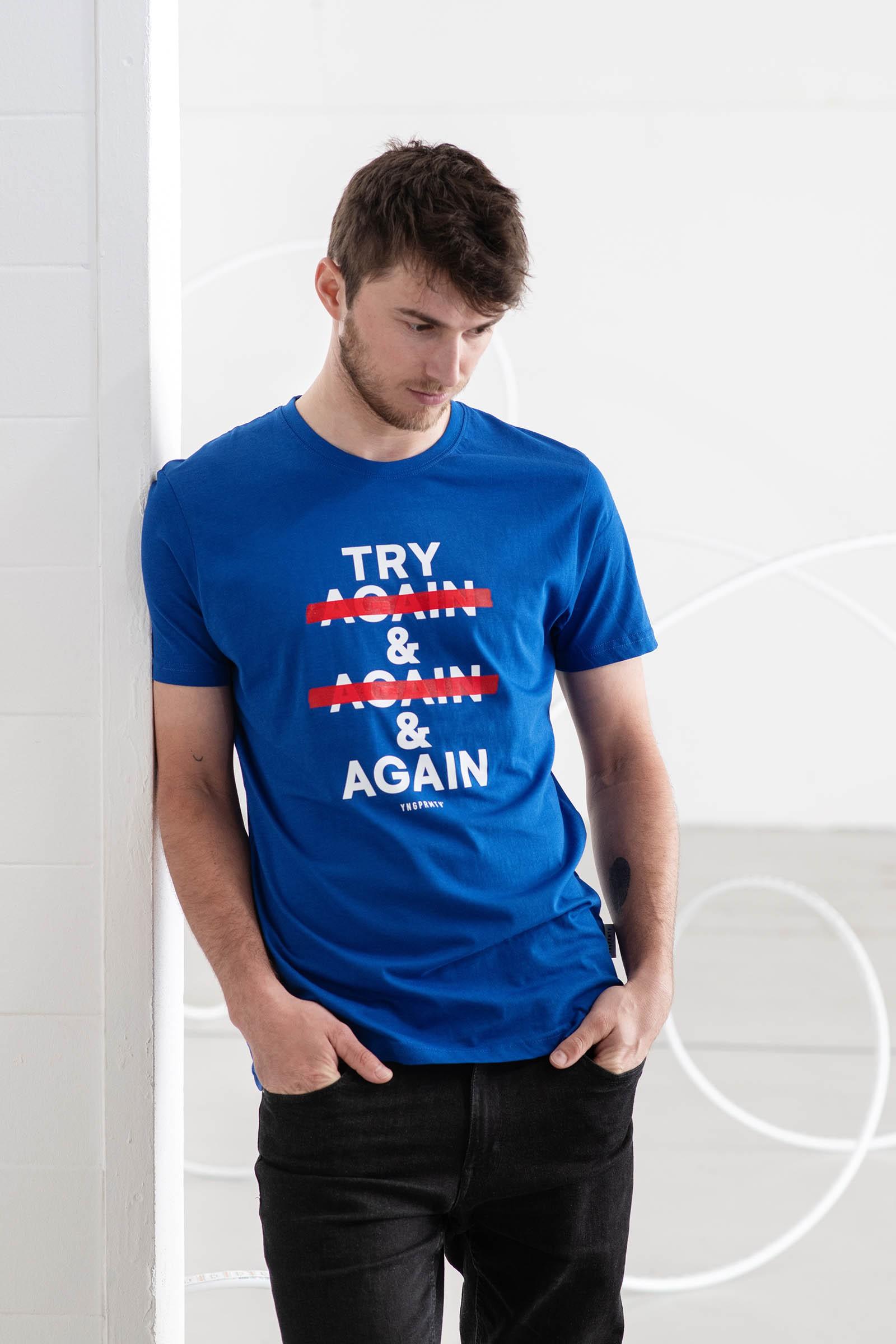 t-shirt for men Try again! royal blue
