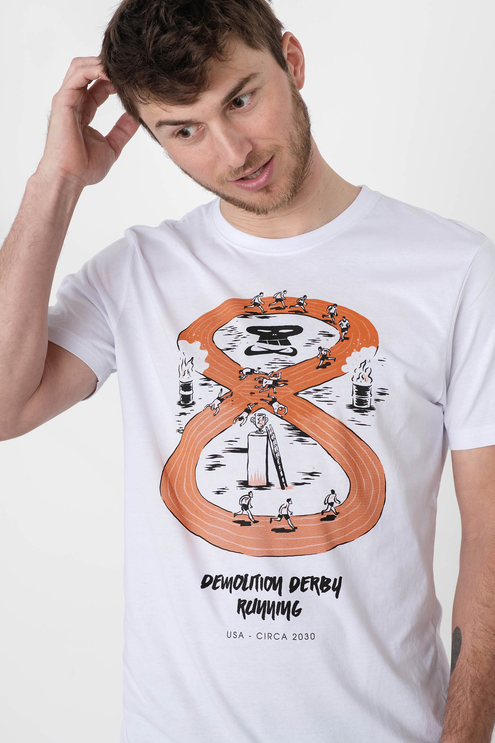 t-shirt for men Demolition derby white