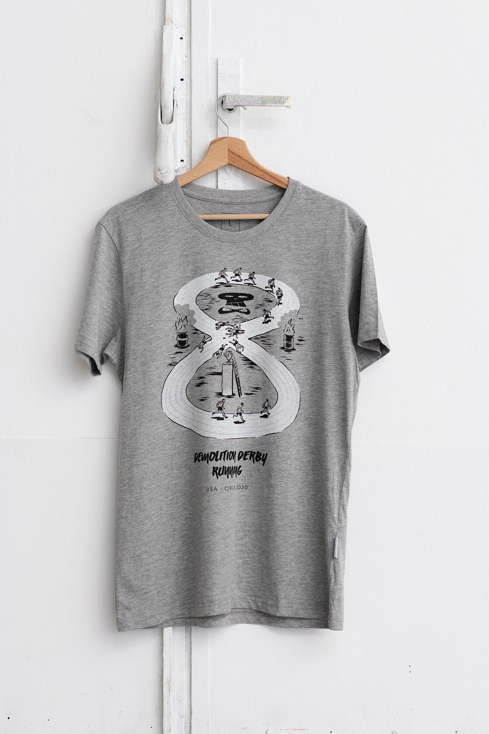 t-shirt for men Demolition derby grey melange