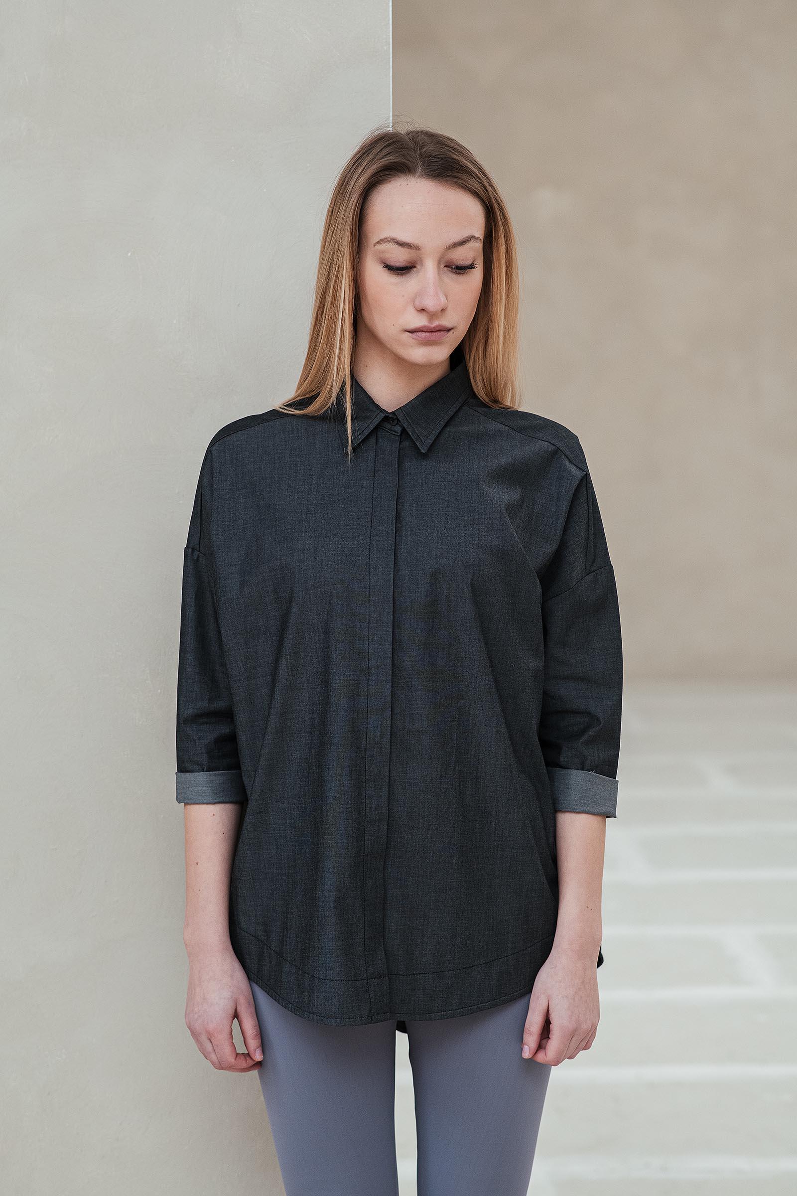 trička a košile Greta černý jeans