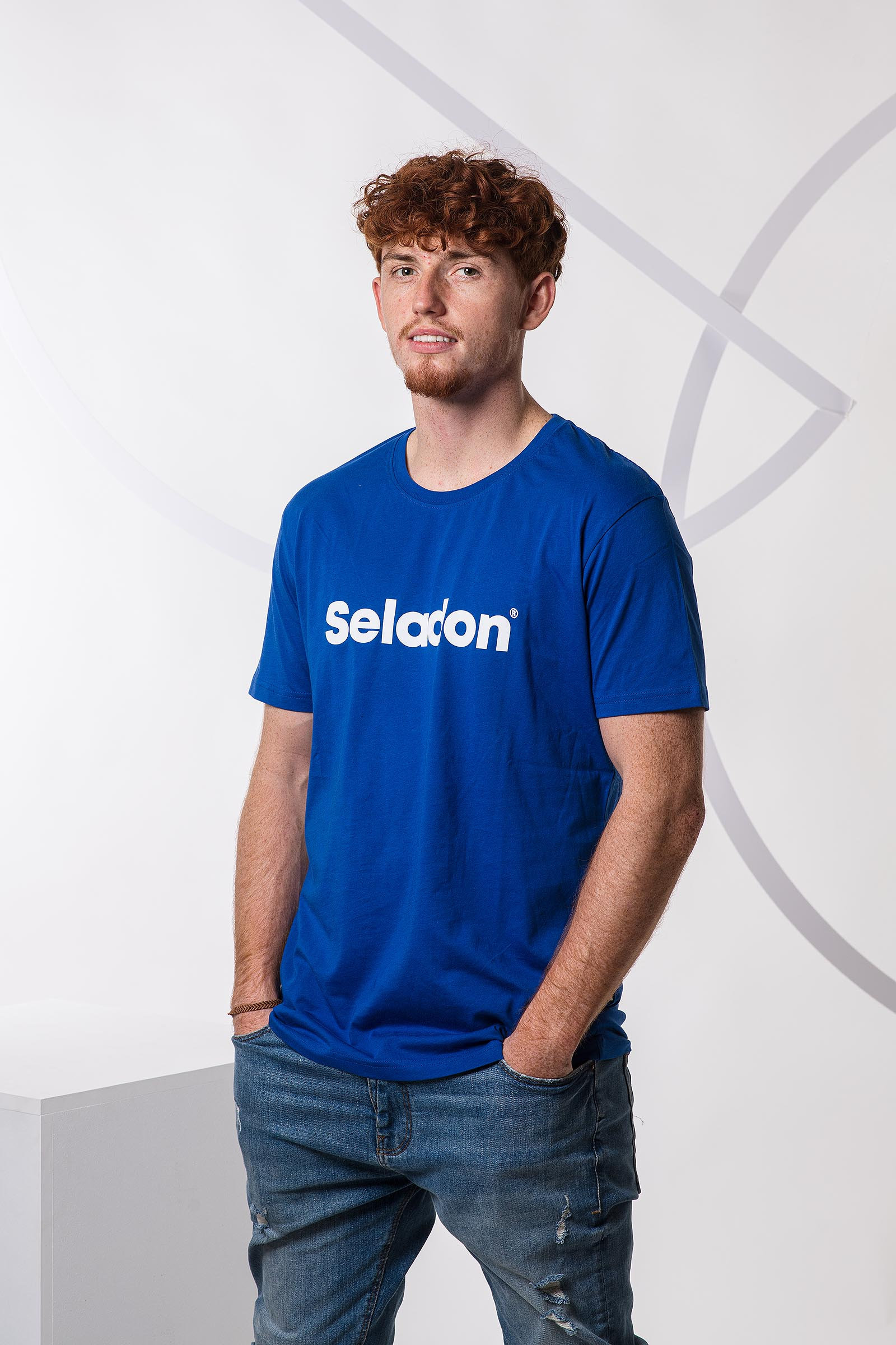 t-shirt for men Seladon royal blue