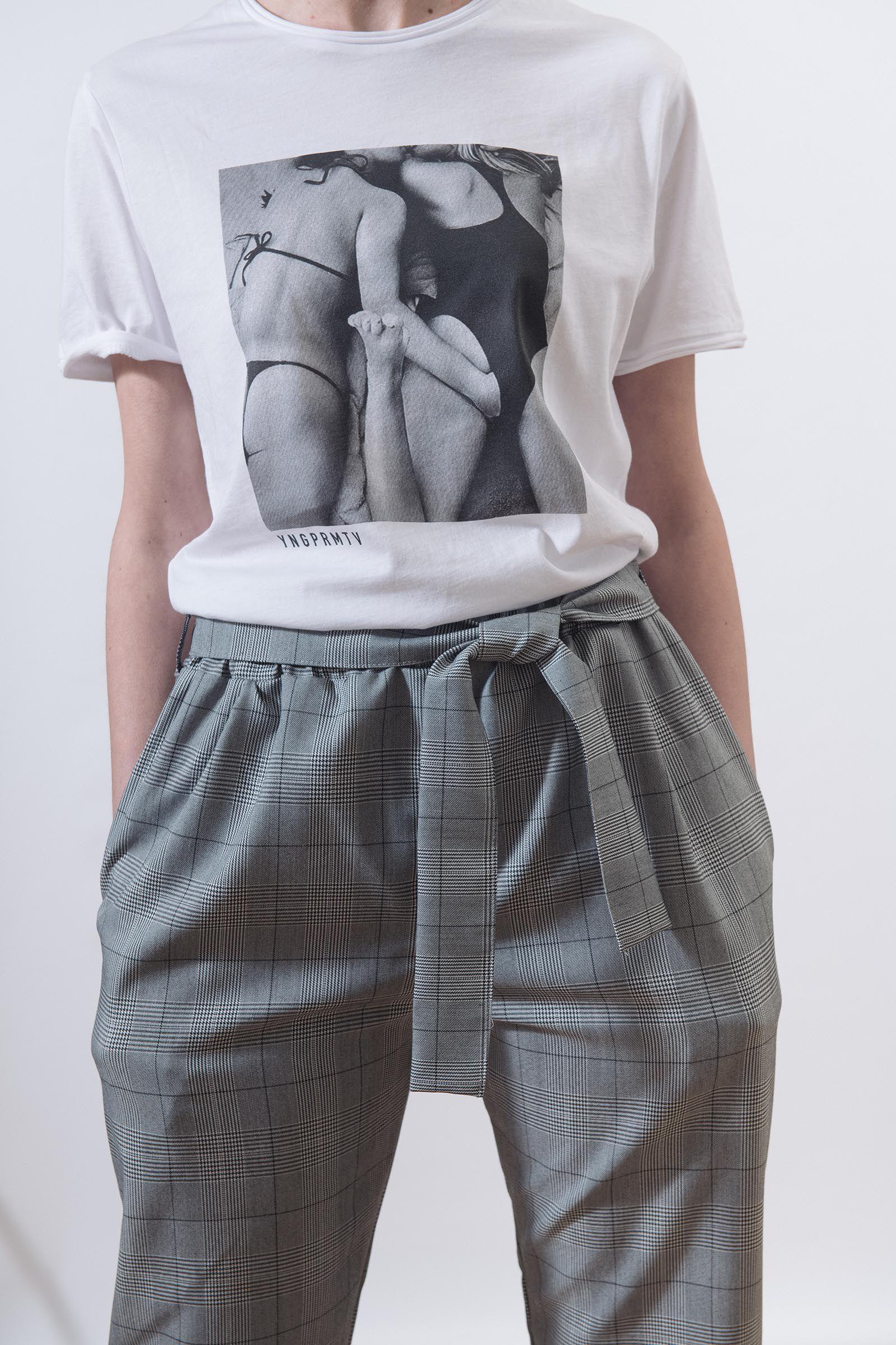 Kalhoty Bjorn šedá kostka