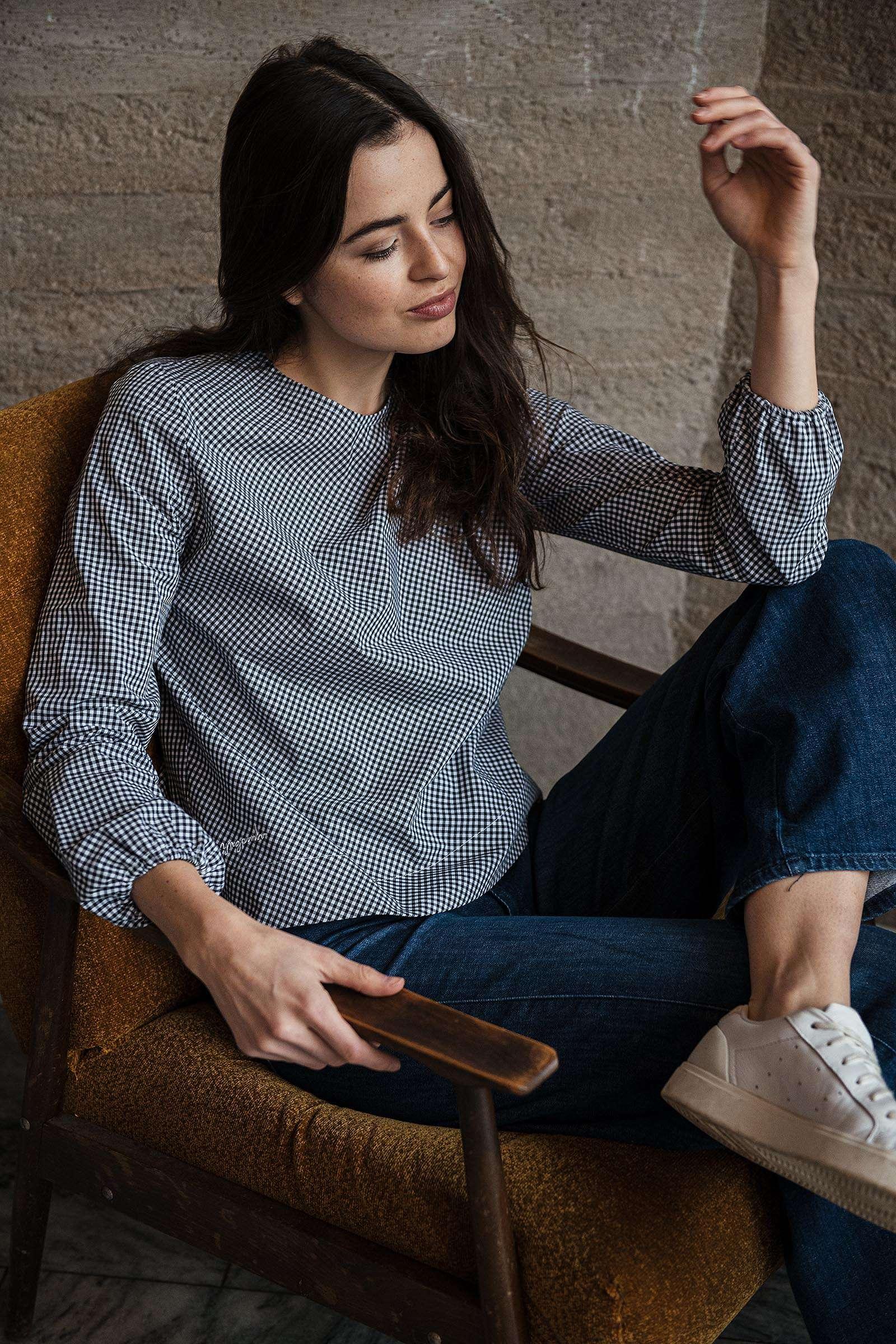 t-shirt and shirt for women Kosmo vichy kostička černá