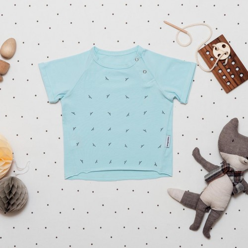 children's outfit Grid sky blue