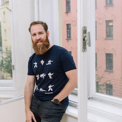 t-shirt for men International Karate deep blue