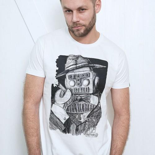 Pánské tričko Smoking robot Bílá