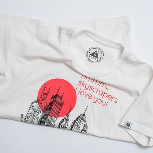 t-shirt for men Skyscraper White