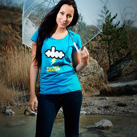 t-shirt for women Fuckin* weather blue