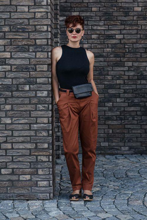 Kalhoty Nora cihlová