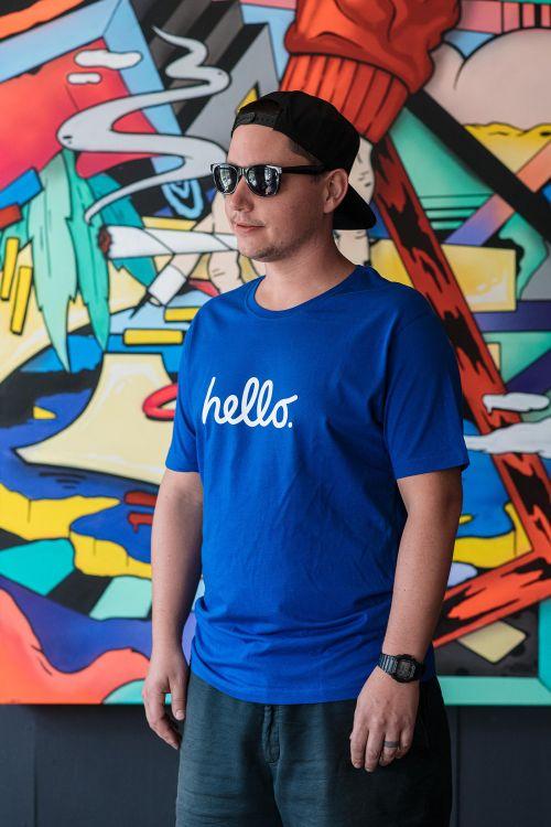 Pánské tričko Hello modrá