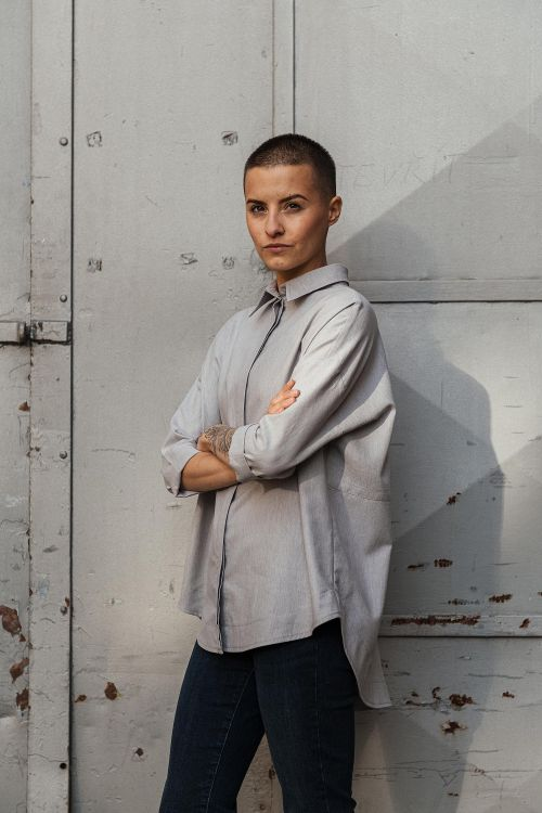 t-shirt and shirt for women Greta grey