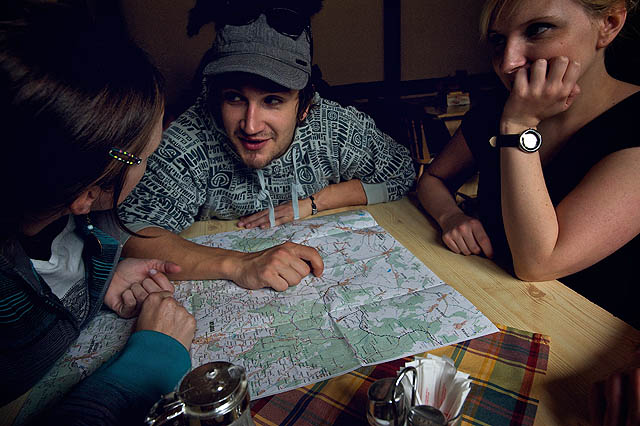 Plánování trasy v hospodě